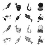 Fishing, fish, catch, hook .Fishing set collection icons in black,monochrome style vector symbol stock illustration web. Fishing, fish, catch, hook .Fishing set Stock Photos