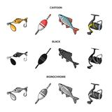 Fishing, fish, catch, hook .Fishing set collection icons in cartoon,black,monochrome style vector symbol stock. Illustration Royalty Free Stock Images