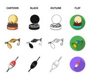 Fishing, fish, catch, hook .Fishing set collection icons in cartoon,black,outline,flat style vector symbol stock. Illustration Stock Images
