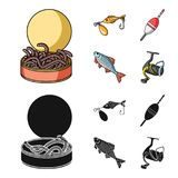 Fishing, fish, catch, hook .Fishing set collection icons in cartoon,black style vector symbol stock illustration web. Fishing, fish, catch, hook .Fishing set Royalty Free Stock Images