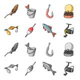 Fishing, fish, catch, hook .Fishing set collection icons in cartoon,monochrome style vector symbol stock illustration.  Royalty Free Stock Image
