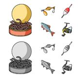 Fishing, fish, catch, hook .Fishing set collection icons in cartoon,monochrome style vector symbol stock illustration.  Royalty Free Stock Photos