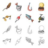 Fishing, fish, catch, hook .Fishing set collection icons in cartoon,outline style vector symbol stock illustration web. Fishing, fish, catch, hook .Fishing set Stock Image
