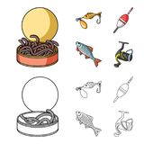 Fishing, fish, catch, hook .Fishing set collection icons in cartoon,outline style vector symbol stock illustration web. Fishing, fish, catch, hook .Fishing set Stock Photography