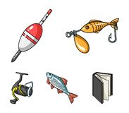 Fishing, fish, catch, hook .Fishing set collection icons in cartoon style vector symbol stock illustration web. Fishing, fish, catch, hook .Fishing set Royalty Free Stock Images