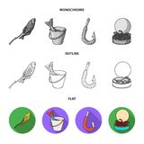 Fishing, fish, catch, hook .Fishing set collection icons in flat,outline,monochrome style vector symbol stock. Illustration Stock Image