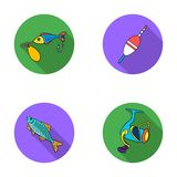 Fishing, fish, catch, hook .Fishing set collection icons in flat style vector symbol stock illustration web. Stock Images