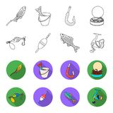 Fishing, fish, catch, hook .Fishing set collection icons in outline,flat style vector symbol stock illustration web. Fishing, fish, catch, hook .Fishing set Royalty Free Stock Photo