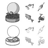 Fishing, fish, catch, hook .Fishing set collection icons in outline,monochrome style vector symbol stock illustration.  Royalty Free Stock Photography