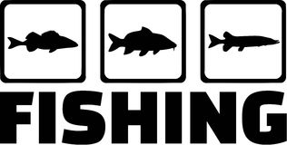 Fishing Fish Icons. Fishing with Fish Icons in a row Stock Photo