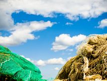 Fishing with fish net close up. With blue sky Stock Image