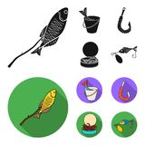 Fishing, fish, shish kebab .Fishing set collection icons in black, flat style vector symbol stock illustration web. Fishing, fish, shish kebab .Fishing set Royalty Free Stock Images