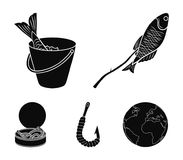 Fishing, fish, shish kebab .Fishing set collection icons in black style vector symbol stock illustration web. Fishing, fish, shish kebab .Fishing set collection Stock Images