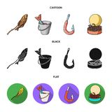 Fishing, fish, shish kebab .Fishing set collection icons in cartoon,black,flat style vector symbol stock illustration.  Stock Photo