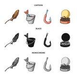 Fishing, fish, shish kebab .Fishing set collection icons in cartoon,black,monochrome style vector symbol stock. Illustration Stock Photo