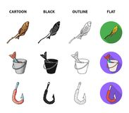 Fishing, fish, shish kebab .Fishing set collection icons in cartoon,black,outline,flat style vector symbol stock. Illustration Royalty Free Stock Photo