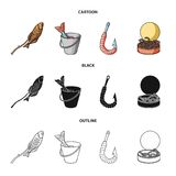 Fishing, fish, shish kebab .Fishing set collection icons in cartoon,black,outline style vector symbol stock illustration.  Stock Photos