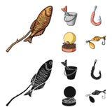 Fishing, fish, shish kebab .Fishing set collection icons in cartoon,black style vector symbol stock illustration web. Fishing, fish, shish kebab .Fishing set Royalty Free Stock Image