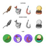 Fishing, fish, shish kebab .Fishing set collection icons in cartoon,flat,monochrome style vector symbol stock. Illustration Stock Photography