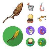Fishing, fish, shish kebab .Fishing set collection icons in cartoon,flat style vector symbol stock illustration web. Fishing, fish, shish kebab .Fishing set Stock Image