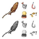 Fishing, fish, shish kebab .Fishing set collection icons in cartoon,monochrome style vector symbol stock illustration.  Royalty Free Stock Photos