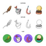 Fishing, fish, shish kebab .Fishing set collection icons in cartoon,outline,flat style vector symbol stock illustration.  Royalty Free Stock Image