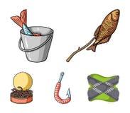 Fishing, fish, shish kebab .Fishing set collection icons in cartoon style vector symbol stock illustration web. Fishing, fish, shish kebab .Fishing set Stock Photos