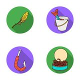 Fishing, fish, shish kebab .Fishing set collection icons in flat style vector symbol stock illustration web. Stock Photos