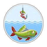 Fishing. Fish in water and fishhook. Eps10  illustration.  on white background Royalty Free Stock Image