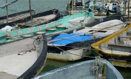 Fishing fisherboat ocean mexico Telchac docks seaport Royalty Free Stock Images
