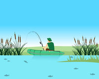 Fishing. Fisherman catches a fish in the lake on the Spinning. Vector illustration Royalty Free Stock Image