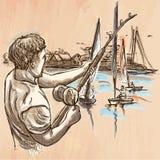 Fishing, fisherman - An hand drawn vector. Line art. FISHING. An fisherman catch fish on the sea shore. Freehand sketching, line drawing. An hand drawn vector Royalty Free Stock Image