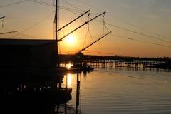 Fishing. Fisherman by night in the sea Stock Photo