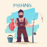 Fishing and fisherman. Fishing vector illustration. Fisherman with rod and fish isolated. Time for fishing. Funny cartoon professional fisherman. Active People Stock Photos