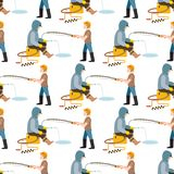 Fishing fishermen vector catches fish fisher threw rod into water catch and spin, man pulls net out of the river. Fishing fishermen vector catches fish fisher Royalty Free Stock Photos