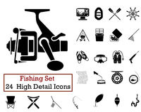 24 Fishing Fishing Icons. Set of 24 Fishing Icons in Black Color Royalty Free Stock Photography