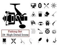 24 Fishing Fishing Icons Royalty Free Stock Photography