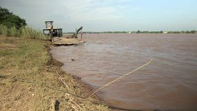 Fishing , fishing poles,  mekong, cambodia, southeast asia stock video footage