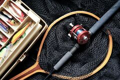 Fishing, Fishing Rod, Fishing Lures Stock Photo