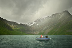 Fishing on fjord Royalty Free Stock Photos