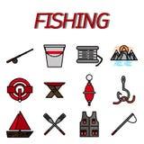 Fishing flat icon set Stock Photography