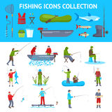 Fishing Flat Icons 2 Banners Set. Fishing gear and equipment flat icons collection with fisherman in motorboat catching fish banners abstract vector illustration Royalty Free Stock Photography