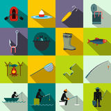 Fishing flat icons set Stock Photo