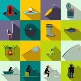 Fishing flat icons set Stock Photo