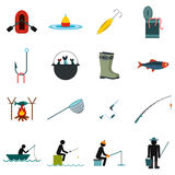 Fishing flat icons set Royalty Free Stock Photos
