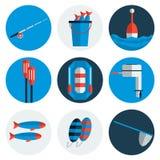 Fishing flat icons. Flat style. Vector illustration, EPS 10 Royalty Free Stock Photo