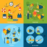 Fishing Flat Set. Fishing design concept set with equipment catch campfire hook flat icons set  vector illustration Stock Photo