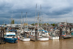 Fishing fleet on Fraser river in Steveston, Canada stock photography