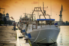 Fishing Fleet. The fishing fleet in port in the evening. Soothing and calm sea Stock Photography