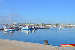 The Fishing Fleet - Mediterranean Harbour. Some of the fishing boats in Santa Pola Harbour Stock Photo
